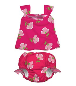 iPlay Girls' Fucshia Buttercup Swim Diaper Tankini Set (6mos-3yrs)