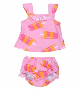 iPlay Girls' Pink Popsicle Swim Diaper Tankini Set (6mos-3yrs)
