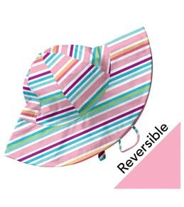 iPlay Girls' Pink Multistripe  Reversible Sun Protection Hat (6mos-4yrs)