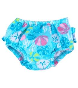iPlay Girls' Aqua Shell Garden Ruffle Swim Diaper (6mos-3yrs)