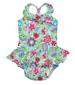 iPlay Girls' Aqua Calypso Ruffle Swim Diaper Tanksuit (6mos-3yrs)