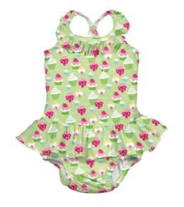 iPlay Girls' Lime Cupcakes Ruffle Swim Diaper Tanksuit (6mos-3yrs)