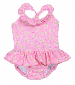 iPlay Girls' Pink Posies Ruffle Swim Diaper Tanksuit (6mos-3yrs)