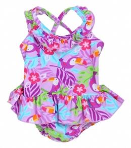 iPlay Girls' Lavender Toucan Ruffle Swim Diaper Tanksuit (6mos-3yrs)