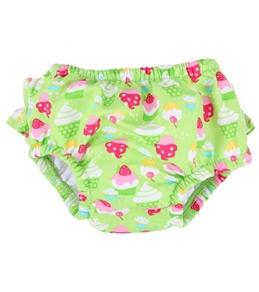 iPlay Girls' Lime Cupcakes Ruffle Snap Swim Diaper (0mos-4yrs)