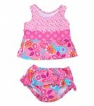 iPlay Girls' Pink Paisley Mix 'n Match Swim Diaper Tankini Set (6mos-3yrs)