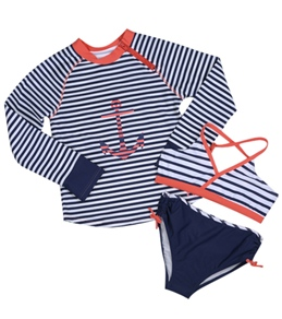Cabana Life Girls' Anchors Away Two Piece Swimsuit & L/S Rashguard Set (7-14)