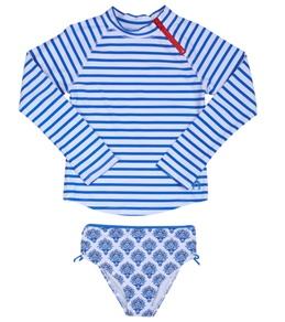 Cabana Life Girls' Blue Lagoon L/S Rashguard Set (6-24mos)