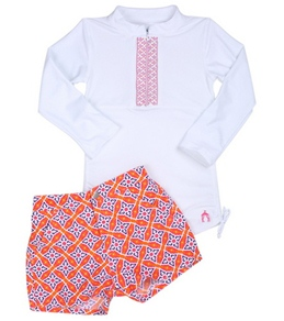 Cabana Life Girls' Sunset Beach L/S Rashguard Set (4-6X)