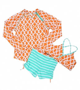 Cabana Life Girls' Clementine Two Piece Swimsuit & L/S Rashguard Set (7-14)