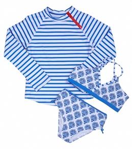 Cabana Life Girls' Blue Lagoon Two Piece Swimsuit & L/S Rashguard Set (7-14)