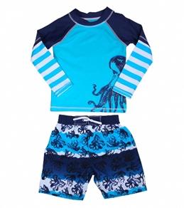 Cabana Life Boys' Octopus Swim Short & L/S Rashguard Set (2T-4T)