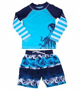 Cabana Life Boys' Octopus Swim Short & L/S Rashguard Set (4-7)