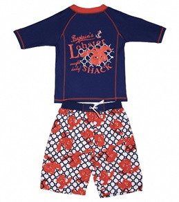 Cabana Life Boys' Lobster Shack Swim Short & S/S Rashguard Set (8-14)