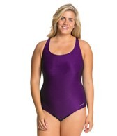 Sporti Plus Size Polyester Moderate Solid Swimsuit