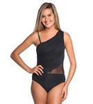 Carmen Marc Valvo Kalahari One Shoulder Rhinestone One Piece Swimsuit