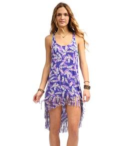 Hobie Plumed Fringe Hi-Lo Dress