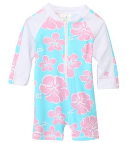 Snapper Rock Baby Girls' Hibiscus L/S Sunsuit (0-2yrs)