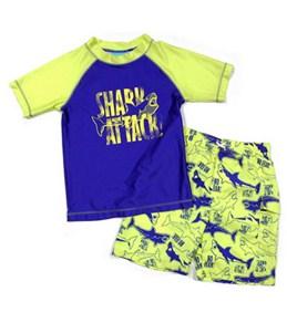 Jump N Splash Boys Shark Attack Rashguard Set w/FREE Goggles
