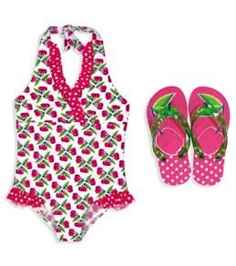 Jump N Splash Girls Cherry One Piece w/FREE Flip Flops