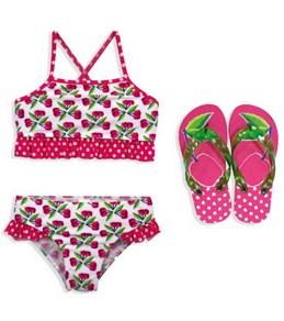 Jump N Splash Girls Cherry Sport Top Set w/FREE Flip Flops