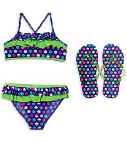 Jump N Splash Girls Mutli Colored Polka Dot Flutter Top Set w/FREE Flip Flops
