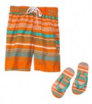 Jump N Splash Boys Orange Stripe Swim Trunk w/FREE Flip Flops