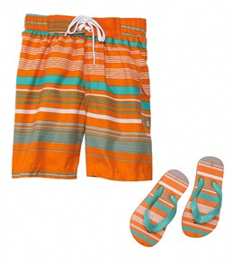 Jump N Splash Boys Orange Stripe Swim Trunk w/FREE Flip Flops