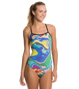 Sporti Spiffiez Abstract Thin Strap Swimsuit