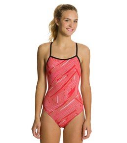 Sporti Polyester Linear Thin Strap Swimsuit