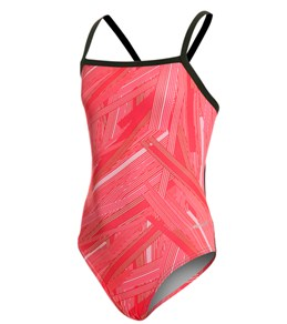 Sporti Polyester Linear Thin Strap Swimsuit Youth