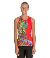 Triflare Women's Red Sari Tri Top