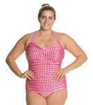 Esther Williams Plus Gingham Classic Sheath One Piece Swimsuit