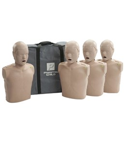 Prestan Professional Child CPR-AED Training Manikins w/CPR Monitor 4 Pack & Kit