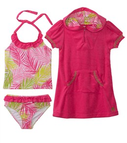 Cabana Life Girls' Palm Springs Swim & Terry Cover Up Set (6mos-14yrs)