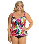 Penbrooke Plus Size Spring Blooms Bow Front Top