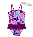 Jump N Splash Girls' Butterfly Tutu One Piece w/FREE Goggles (4-6)