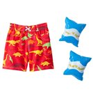Jump N Splash Boys' Dinosaur Swim Trunk w/FREE Arm Band Floaties (2T-4T)