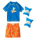 Jump N Splash Boys' Surfin Dino S/S Rashguard Set w/FREE Arm Band Floaties (2T-4T)