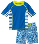 Cabana Life Boys' Tropical Swim Shorts and Rashguard Set (2T-4T)