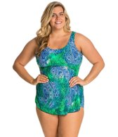 Ceeb Plus Size Bimini Blue Scoop Neck Sarong One Piece Swimsuit
