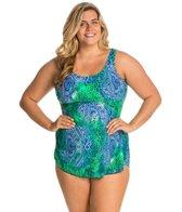 Ceeb Plus Size Bimini Blue Scoop Neck Sarong One Piece Swimsuit