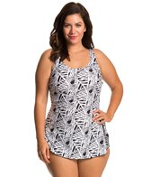 Ceeb Plus Size Moonlit Scoop Neck Sarong One Piece Swimsuit