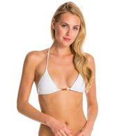 Vix Solid White Tri Embroidery Bikini Top
