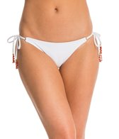 Vix Solid Full White Long Tie Side Embroidery Bikini Bottom