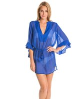 Vix Solid Blue Undersea Tita Caftan Cover Up