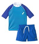 Platypus Australia Boys Sailor Stripe Rashguard/Swim Short Set (7yrs-8yrs)
