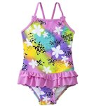 Sunshine Zone Girls' Rainbow Floral Ruffle One Piece (6mos-18mos)
