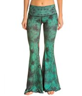 Teeki Eagle Feather Green Bell Bottom Yoga Pants