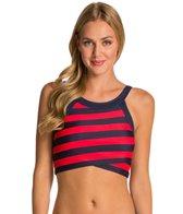 DKNY Iconic Stripes High Neck Crop Bikini Top